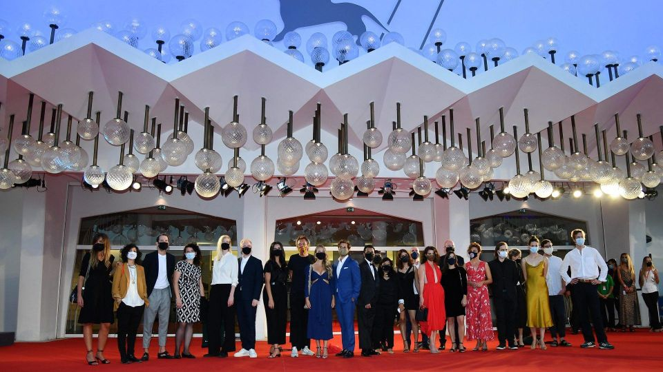 Mandatory Credit: Photo by ETTORE FERRARI/EPA-EFE/Shutterstock (10773927v)Directors, producers and screenwriters of the Corti Orizzonti section pose as they arrive for the premiere of 'Nomadland' during the 77th annual Venice International Film Festival, in Venice, Italy, 11 September 2020.