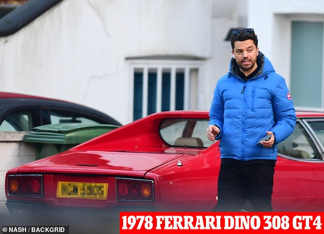 Taken:The Mamma Mia actor, 42, is said to be 'devastated' as his 'prized possession', a 1978 Ferrari Dino 308 GT4 was taken from outside his home last week (pictured in November)