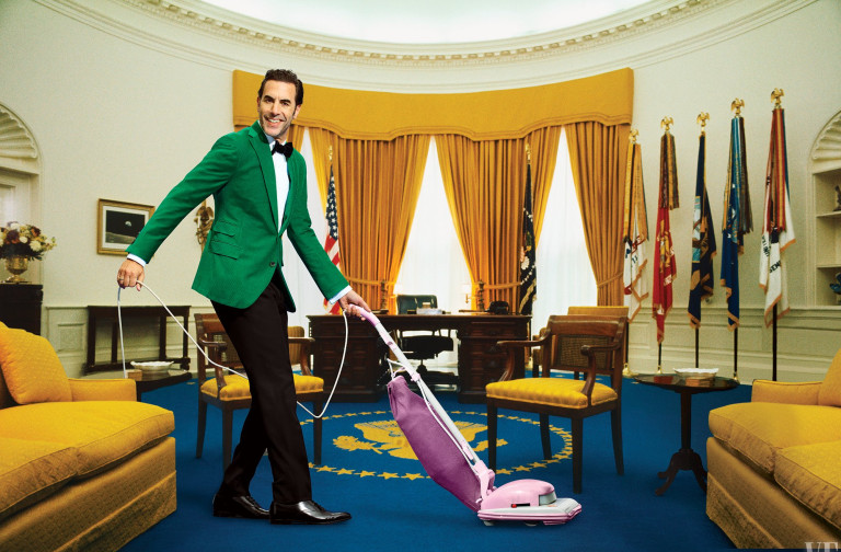 Sacha Baron Cohen with a hoover in the Oval Office