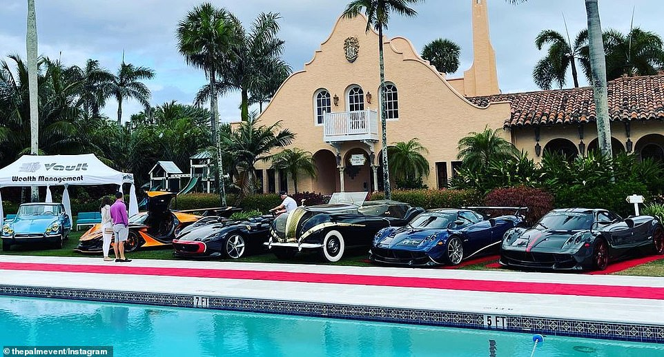 A photo posted by The Palm Event, a fundraising event at Mar-a-Lago for a local charity, included a lineup of expensive cars