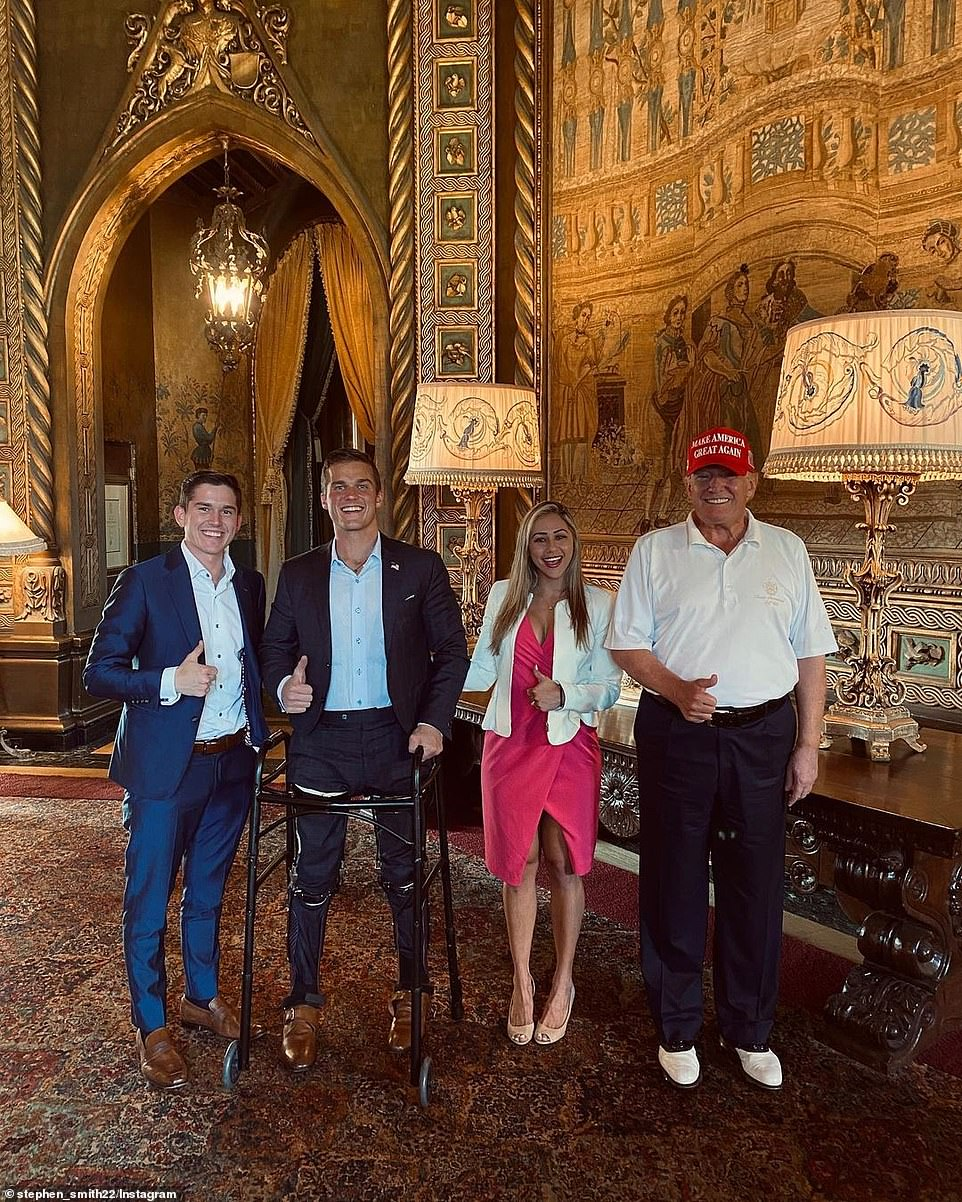 Former President Donald Trump, right, is pictured with Madison Cawthorn, second left, at Mar-a-Lago this weekend