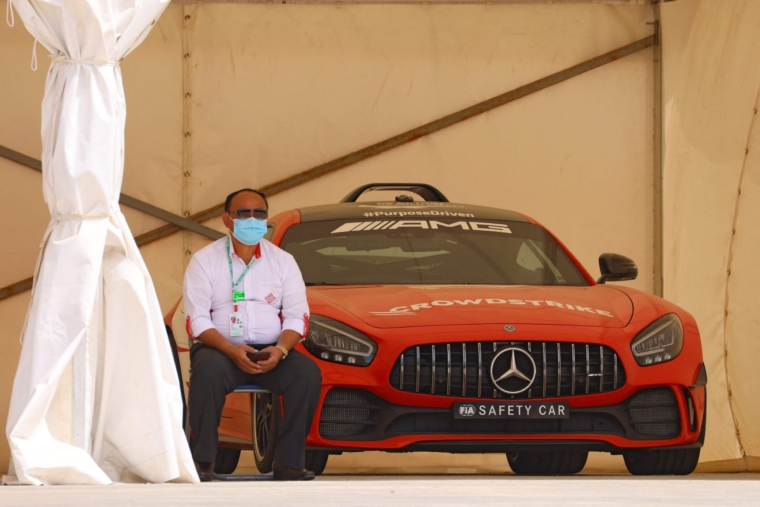 A Mercedes AMG GT R, the official safety car for the 2021 F1 season, is pictured parked on the track on March 25, 2021, prior to the the Bahrain Formula One Grand Prix in the city of Sakhir. (Photo by GIUSEPPE CACACE / AFP) (Photo by GIUSEPPE CACACE/AFP via Getty Images)
