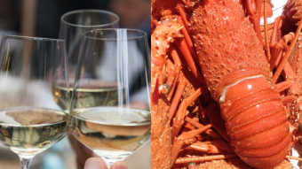 A composite image of wine and lobsters
