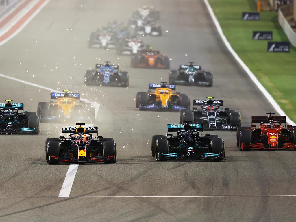 Max Verstappen and Lewis Hamilton compete for position on track during the F1 Grand Prix of Bahrain. (Photo by Bryn Lennon/Getty Images)