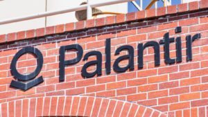 The Palantir logo on the company headquarters in Silicon Valley, California.