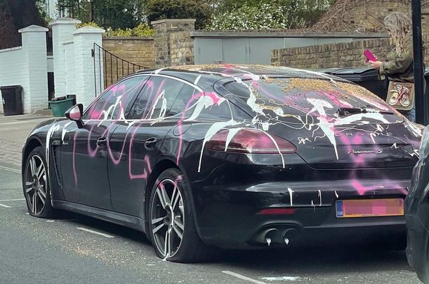 The words 'April Fool' were scrawled across the vehicle