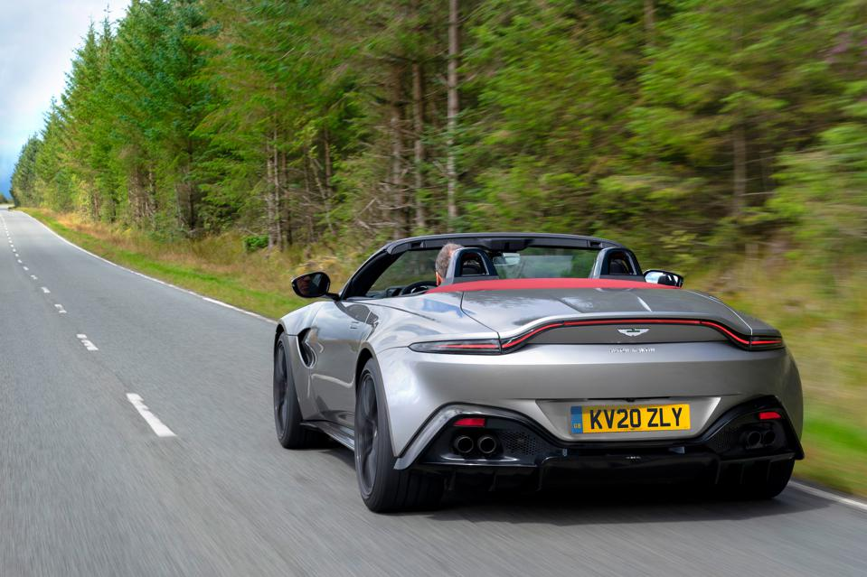 Rear three-quarter view of the 2020 Aston Martin Vantage Roadster in Spirit Silver