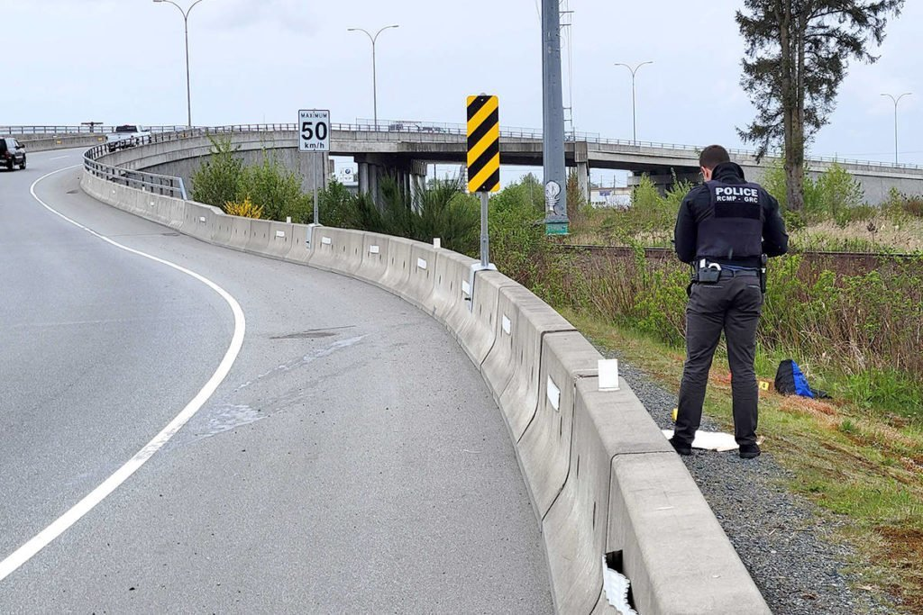 Police were at a scene of a vehicle incident on the Mufford Overpass midday Monday, May 3, 2021 (Dan Ferguson/Langley Advance Times)