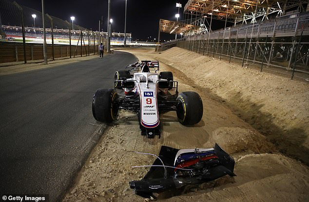 Nikita Mazepin crashed after three turns of his Formula One debut race for the Haas team