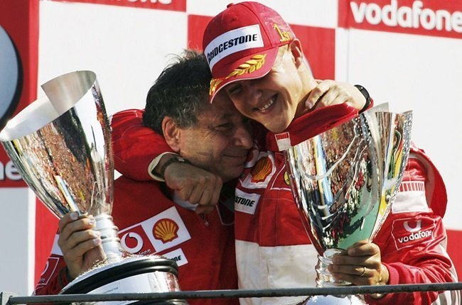 Michael Schumacher of Germany and Ferrari celebrates with Jean Todt after winning the Italian Formula One Grand Prix at the Autodromo Nazionale Monza on September 10, 2006 in Monza, Italy.