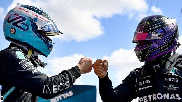 Bottas and Hamilton fist pump after qualifying