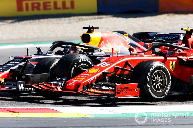 Max Verstappen, Red Bull Racing RB15, collides with Charles Leclerc, Ferrari SF90
