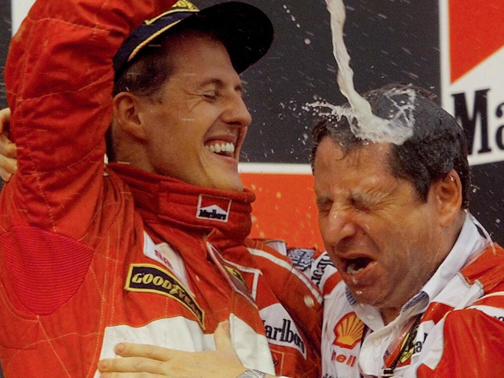 Schumacher and Todt celebrated often during their time together at Ferrari.