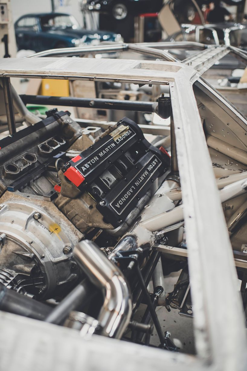 A dry fit of the dummy engine for the Aston Martin Bulldog, to allow fabrication of the turbo and exhaust system
