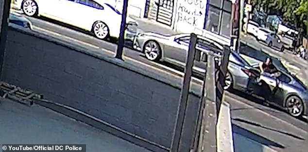 Surveillance footage of the May 19 road riot reportedly shows Davis getting off Maserati after a gray sedan stops in front of him at a stop.