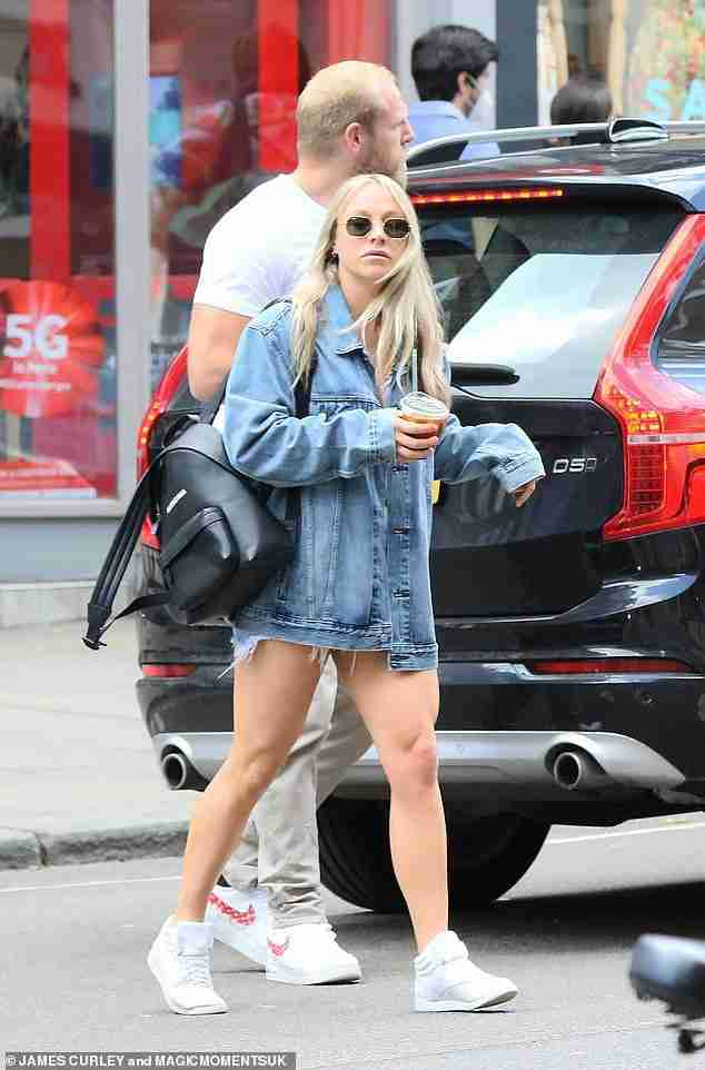 Couple: Chloe Madeley and her husband James Haskell looked happy to be out and about in sunny north London on Saturday as they enjoyed a low-key shopping trip
