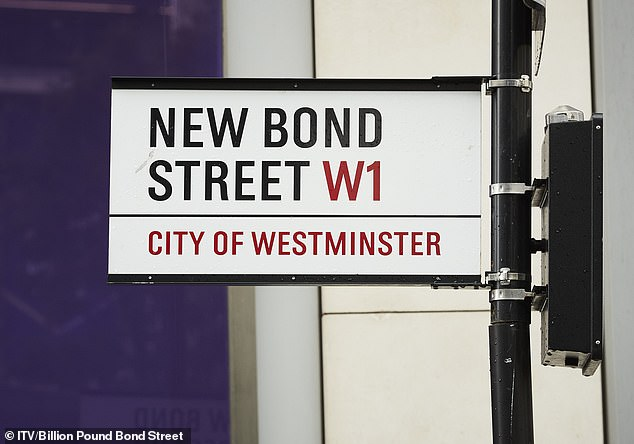 Bond Street has been London's most exclusive shopping street for 300 years. Pictured, New Bond Street road sign
