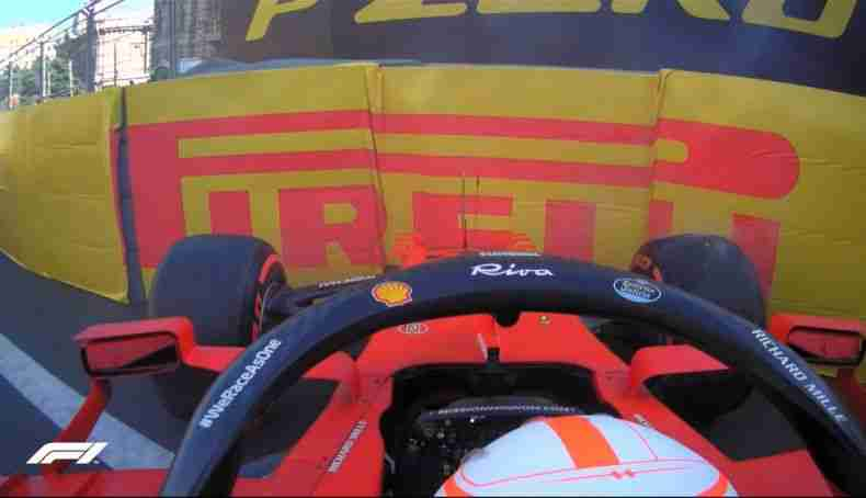 In FP2 Leclerc crashed into the guards at Turn 15 and smashed the front wing of his Ferrari