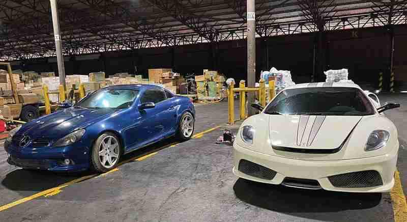 """HOT CARS. Customs """"CoplanTsekot"""" leads to the capture of 3 smuggled luxury vehicles : Ferrari F430 Scuderia, Mercedes Benz SLK 55 AMG and Mercedes Benz E220, with an estimated value amounting to P20 million."""