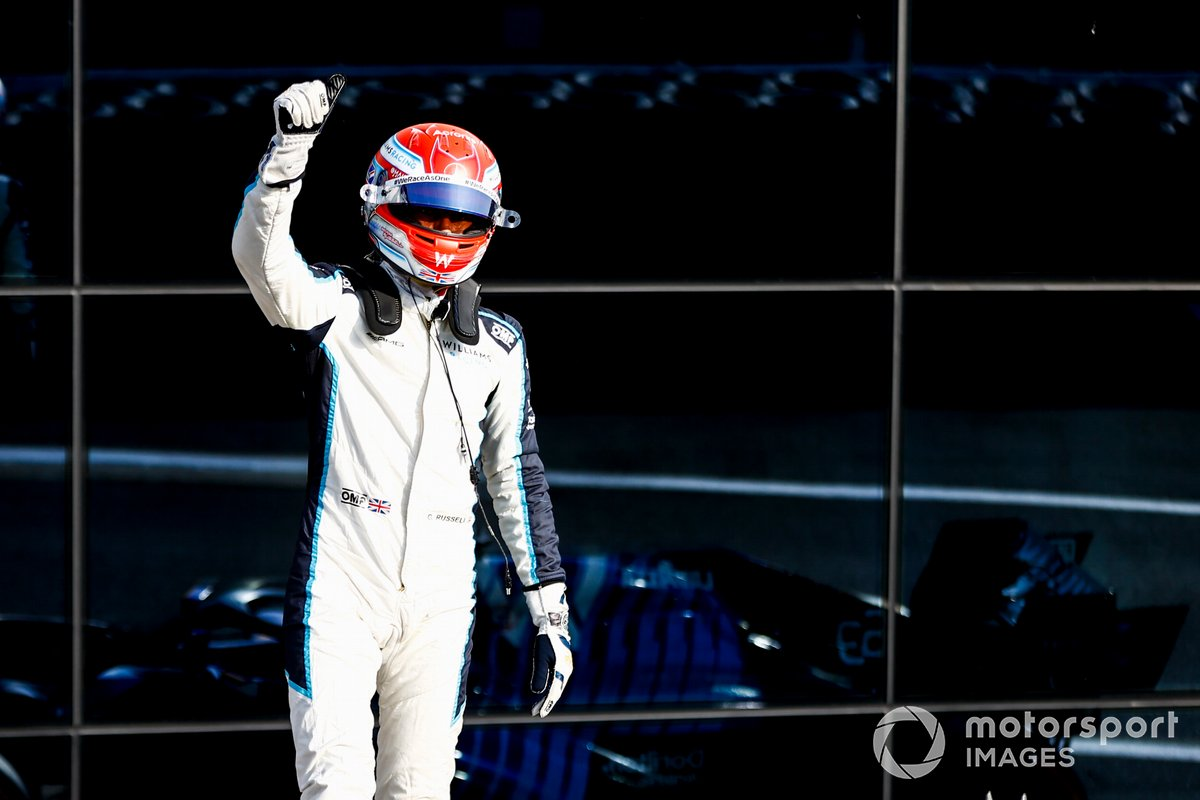 George Russell, Williams, waves to fans from Parc Ferme after Qualifying