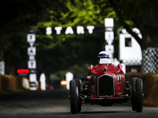 AT SPEED: James Wood demonstrated a 1935 Alfa Romeo P3 at the Goodwood Festival of Speed (Photo JEP)