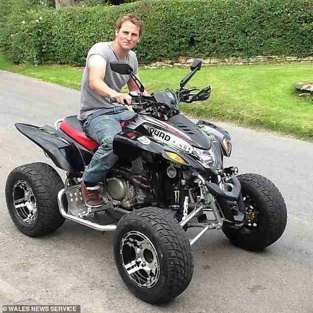 Luke Richardson (pictured), 31, from Darlington, South Yorkshire, died instantly when his 'pride and joy' car smashed into a tree on a country road in Llanwrtyd Wells, Powys, Wales