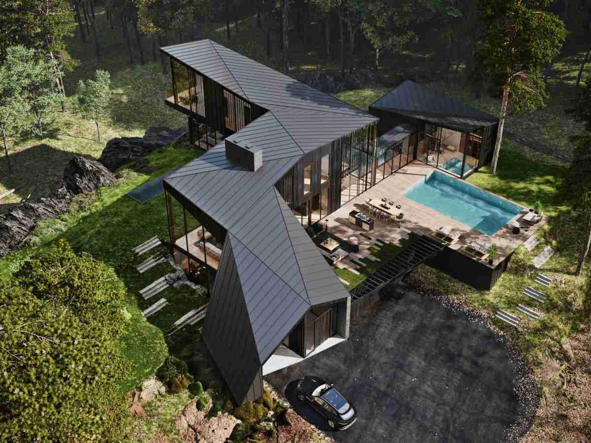 The property can be reached by a 2,000-foot long driveway.