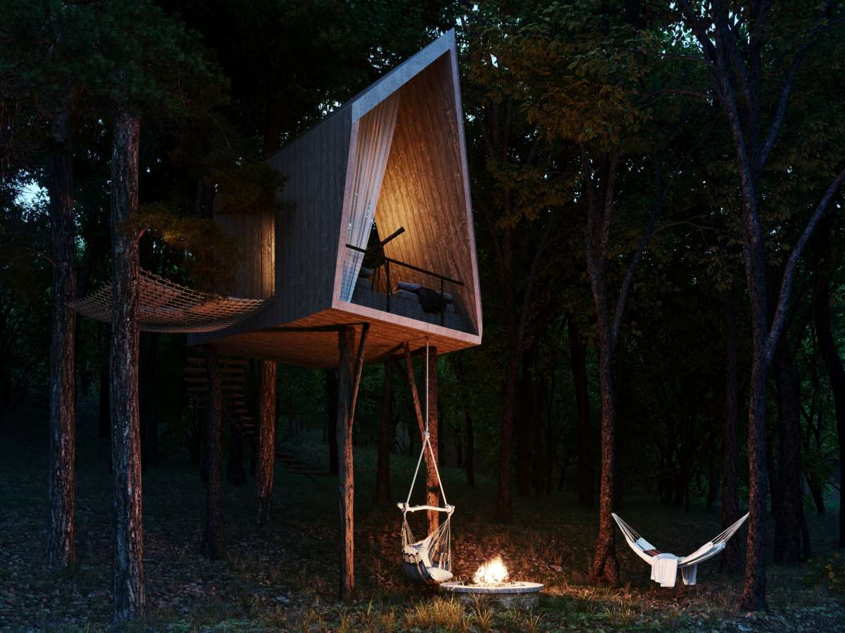 It's designed with three multi-functioning guest pods and a treehouse to accommodate visitors.