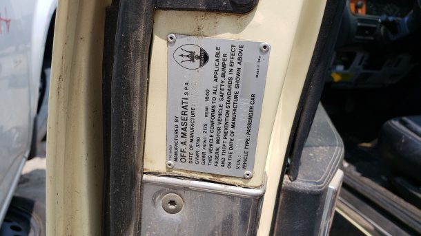 1991 Chrysler TC by Maserati in Colorado junkyard, build tag - ©2021 Murilee Martin - The Truth About Cars