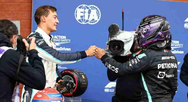 George Russell and Lewis Hamilton Source: Motorsport Images