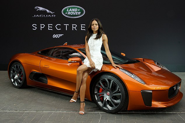 Naomie Harris and theJaguar C-X75 concept car which gave Bond's Aston Martin a run for its Moneypenny in Spectre