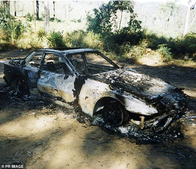 Mr Falso's burned out Porsche is pictured in the Yarra State Forest, near Gladysdale