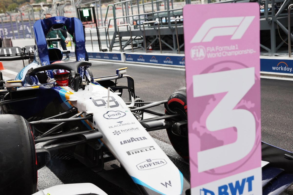 George Russell, Williams FW43B, arrives in Parc Ferme