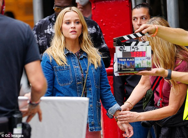 At work: Witherspoon was seen filming the motion picture in NYC last week